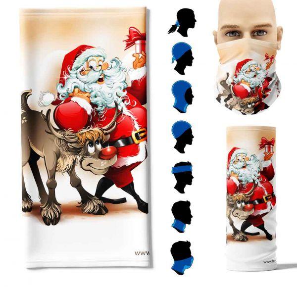 """Multifunktionstuch """"Weihnachtsmann Rentier"""" Face Pad+"""