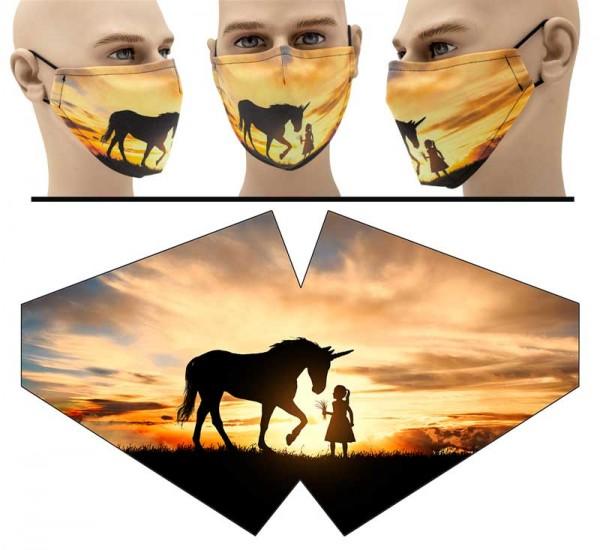 Sonnenuntergang Einhorn - Face Pad Premium - Mund Nasen Behelfsmaske
