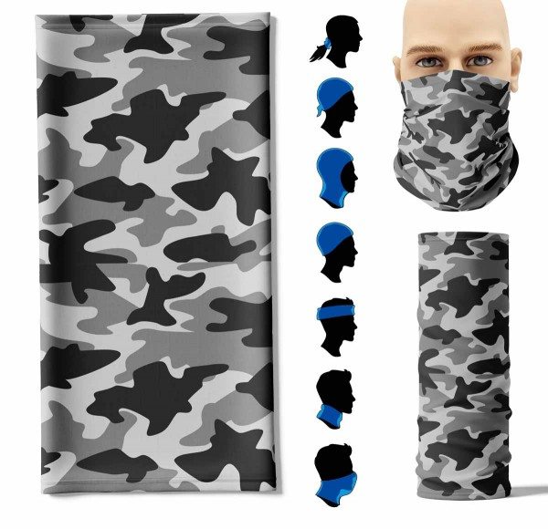 Multifunktionstuch Camouflage Grau Face Pad+