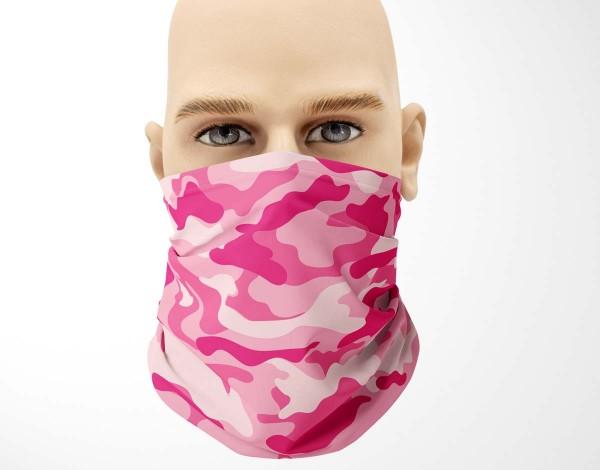 Multifunktionstuch Face Pad+ Camouflage Pink Mund- Nasen- Behelfsmaske Gesichtsmaske