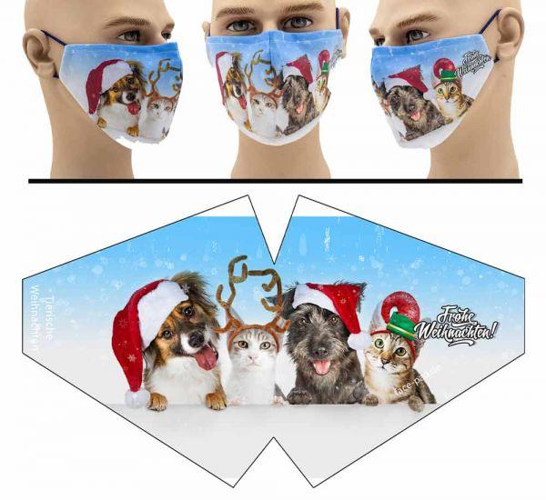 Tierische Weihnachten - Face Pad Premium - Mund Nasen Behelfsmaske