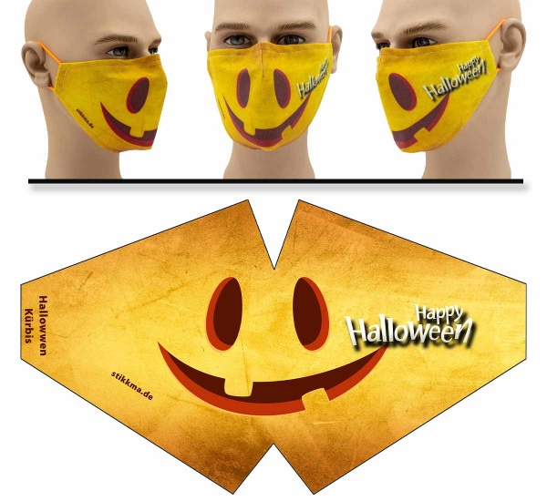 "Mund Nasen Behelfsmaske ""Kürbis Halloween"" Face Pad"