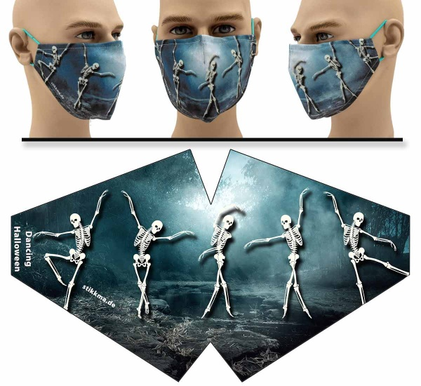 "Mund Nasen Behelfsmaske ""Dancing Halloween"" Face Pad"