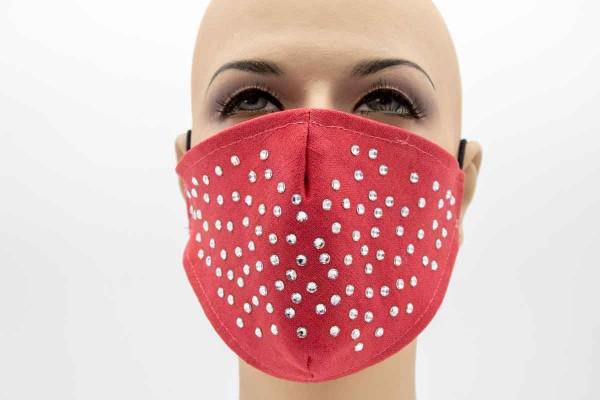 Kristalle Rot - Face Pad Premium - Mund- Nasen. Behelfsmaske