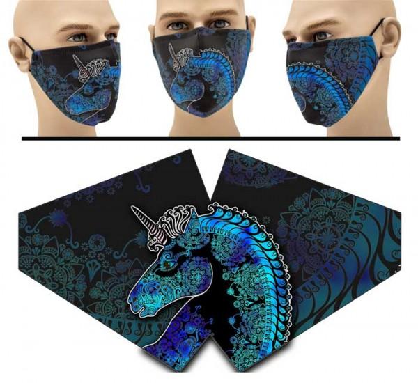 Stilisiertes Einhorn - Face Pad Premium - Mund Nasen Behelfsmaske