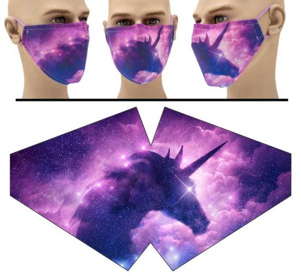 Silhouette Einhorn - Face Pad Premium - Mund Nasen Behelfsmaske