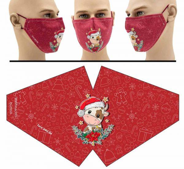"Mund Nasen Behelfsmaske ""süße Weihnachtskuh"" Face Pad"