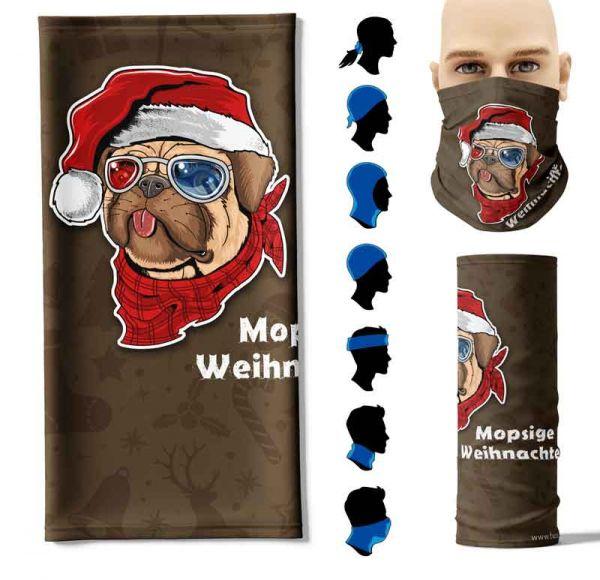 "Multifunktionstuch ""Mopsige Weihnachten"" Face Pad+"
