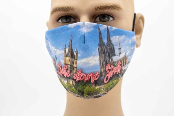 Liebe Deine Stadt - Face Pad Premium -Mund- Nasen. Behelfsmaske