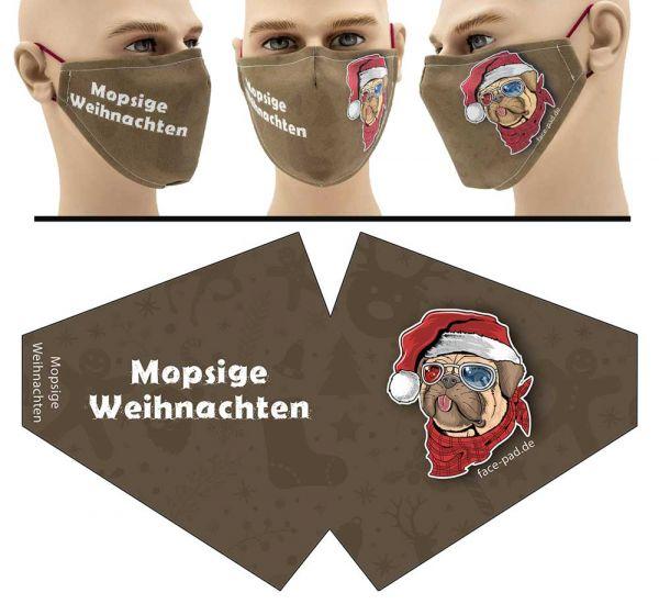 Mopsige Weihnachten - Face Pad Premium - Mund Nasen Behelfsmaske