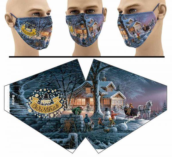 """Mund Nasen Behelfsmaske """"Retro Weihnachtszeichnung 2"""" Face Pad"""