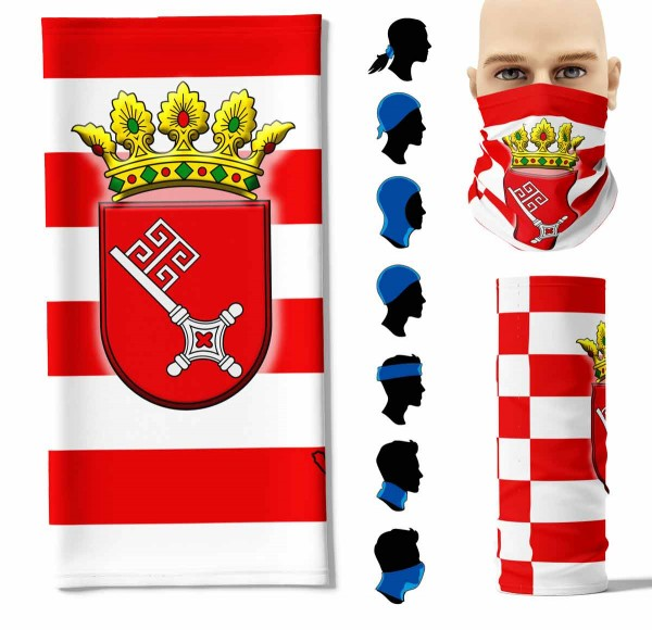 """Multifunktionstuch """"Bremen Flagge"""" Face Pad+-"""