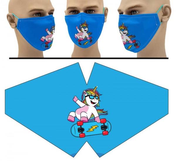 Skateboard Einhorn - Face Pad Premium - Mund Nasen Behelfsmaske