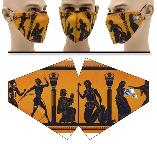 Griechenland Zeichnung - Face Pad Premium - Mund Nasen Behelfsmaske