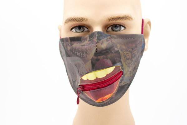 Gesichtsmaske - Face Pad Brotzeit Reißverschluss Mund- Nasen. Behelfsmaske