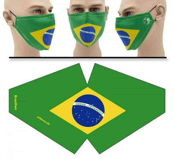 """Mund Nasen Behelfsmaske """"Brasilien"""" Face Pad"""
