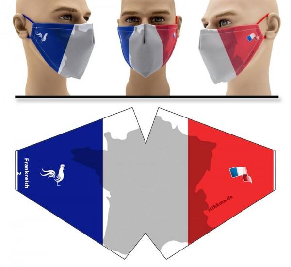Frankreich Umriss - Face Pad Premium - Mund Nasen Behelfsmaske