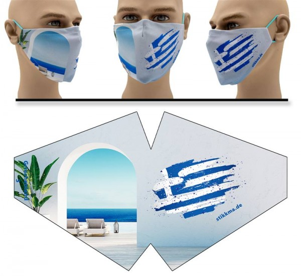 "Mund Nasen Behelfsmaske ""Griechenland Wandtatoo"" Face Pad"