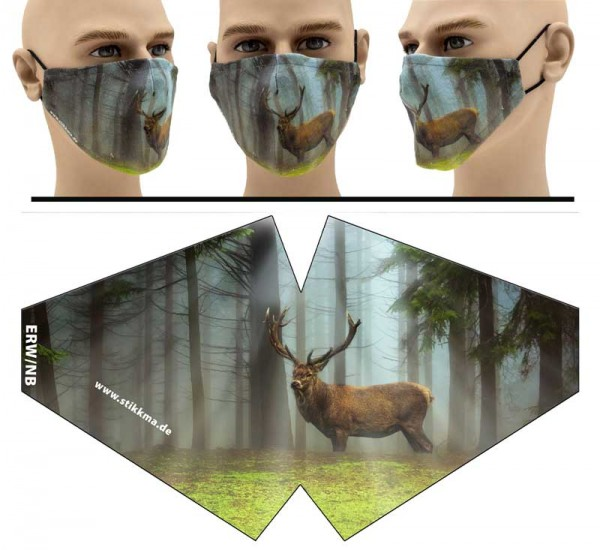 Hirsch Wald - Face Pad Premium - Mund Nasen Behelfsmaske