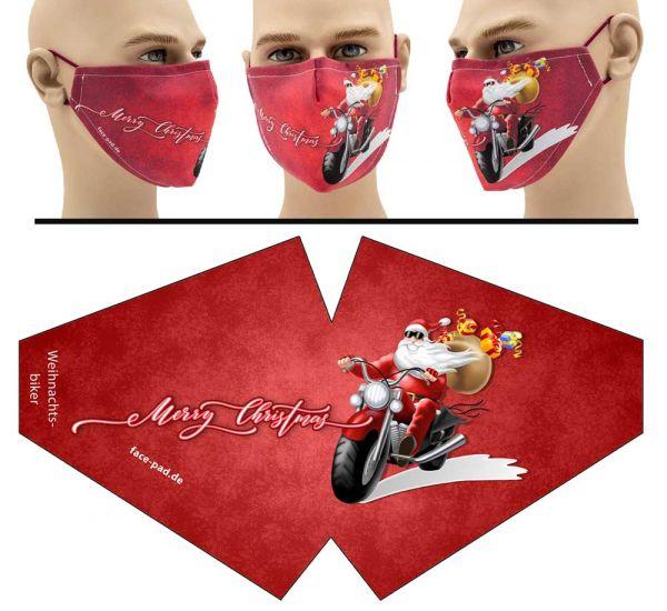 """Mund Nasen Behelfsmaske """"Weihnachtsbiker"""" Face Pad"""