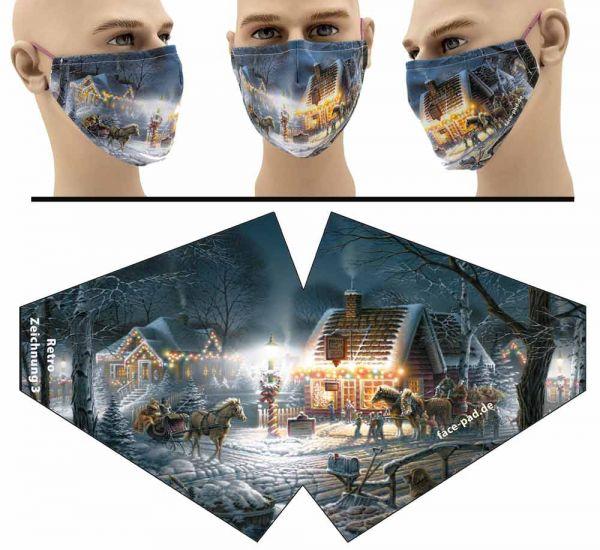 """Mund Nasen Behelfsmaske """"Retro Weihnachtszeichnung 3"""" Face Pad"""