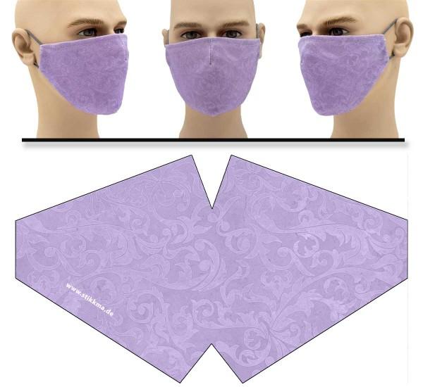 Intarsien Blumen Flieder - Face Pad Premium - Mund Nasen Behelfsmaske