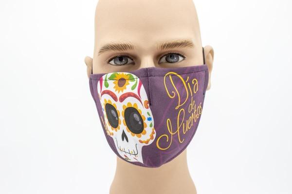 Gesichtsmaske Face Pad Dia de los Muertos 3 Mund- Nasen. Behelfsmaske
