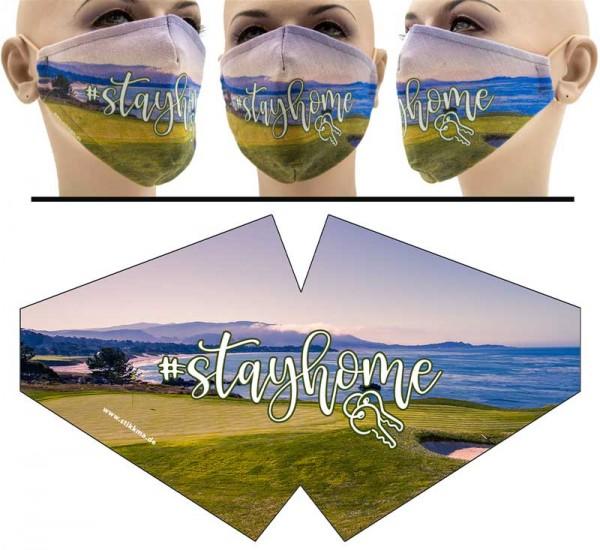 Golfer Stay Home - Face Pad Premium - Mund Nasen Behelfsmaske