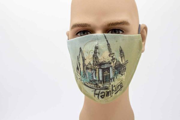 Hamburg Illustration - Face Pad Premium - Mund- Nasen. Behelfsmaske