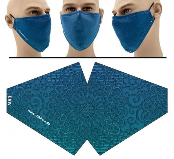 Pattern Blue - Face Pad Premium - Mund Nasen Behelfsmaske