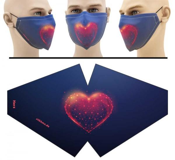 Herz - Face Pad Premium - Mund Nasen Behelfsmaske