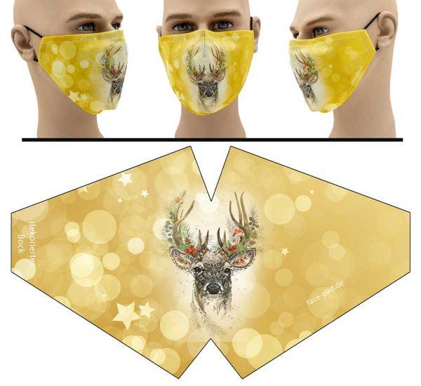 dekorierter Bock - Face Pad Premium - Mund Nasen Behelfsmaske