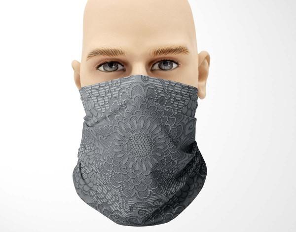 Multifunktionstuch Face Pad+ Pattern Grau Mund- Nasen- Behelfsmaske Gesichtsmaske