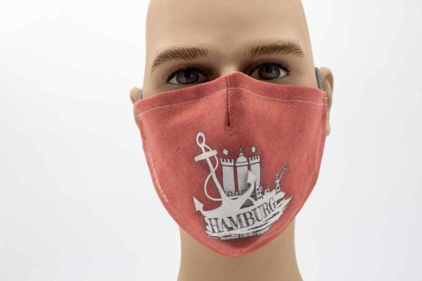 Gesichtsmaske - Face Pad Hamburg Flagge Mund- Nasen. Behelfsmaske