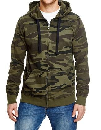 Jacke Full Zip Camo Hooded Fleece