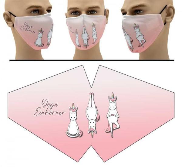 """Mund Nasen Behelfsmaske """"Yoga Einhörner"""" Face Pad"""