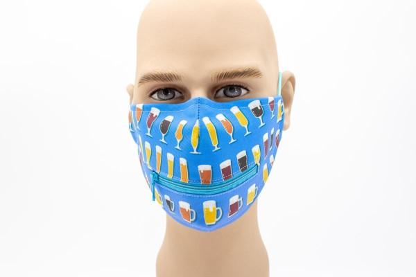 Gläser Reißverschluss - Face Pad Premium - Mund- Nasen. Behelfsmaske