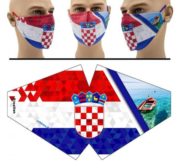 Kroatien Abstract - Face Pad Premium - Mund Nasen Behelfsmaske
