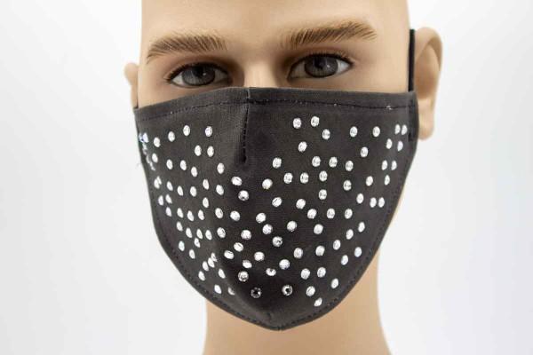 Kristalle Schwarz - Face Pad Premium -Mund- Nasen. Behelfsmaske