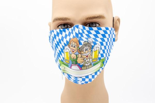 Hoch die Gläser Reißverschluss - Face Pad Premium - Mund- Nasen. Behelfsmaske