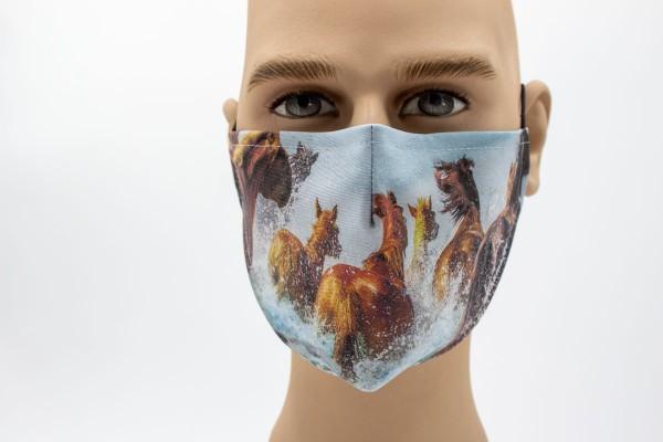 springende Haflinger - Face Pad Premium - Mund- Nasen. Behelfsmaske