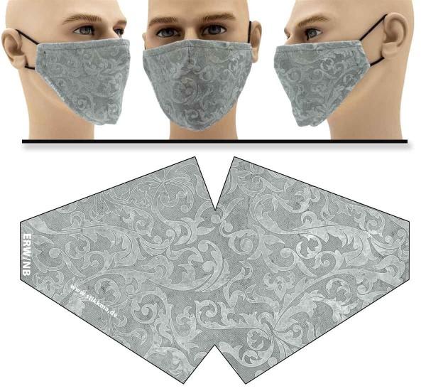 Intarsien Blumen - Face Pad Premium - Mund Nasen Behelfsmaske