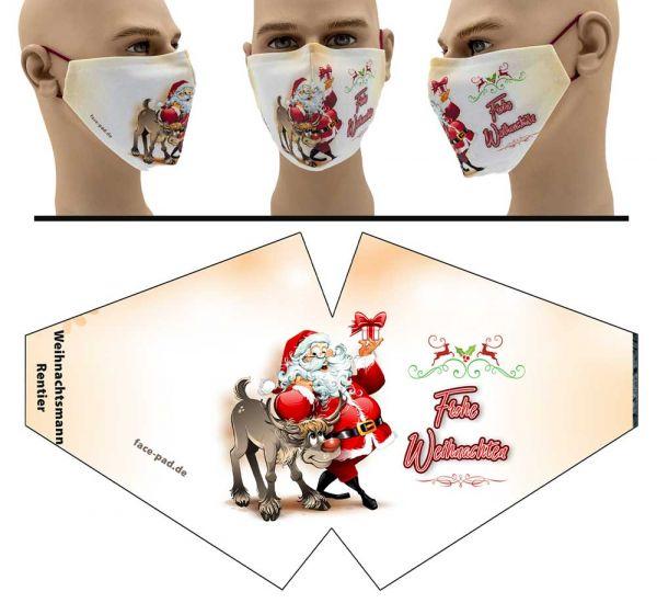 """Mund Nasen Behelfsmaske """"Weihnachtsmann Rentier"""" Face Pad"""