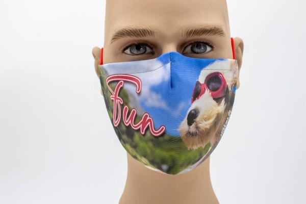 Gesichtsmaske - Face Pad Funny Hund Mund- Nasen. Behelfsmaske