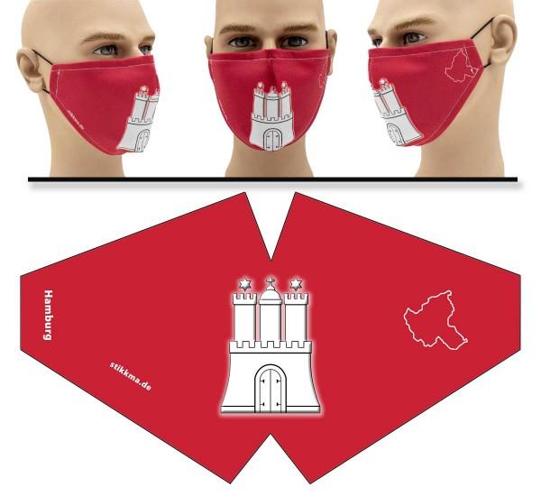 "Mund Nasen Behelfsmaske ""Hamburg Flagge"" Face Pad"
