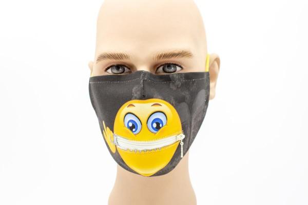 Smiley Reißverschluss - Face Pad Premium - Mund- Nasen. Behelfsmaske
