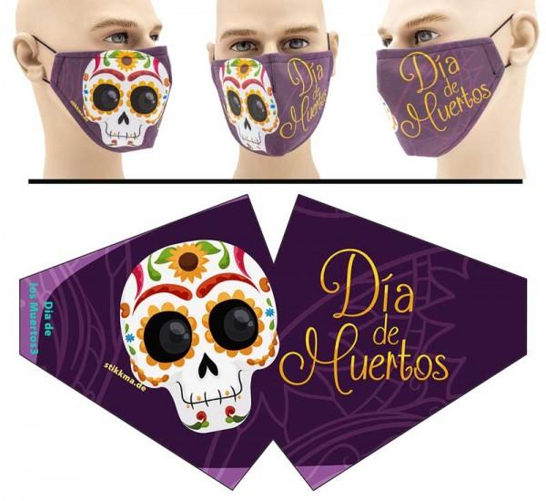 Dia de los Muertos 3 - Face Pad Premium - Mund Nasen Behelfsmaske