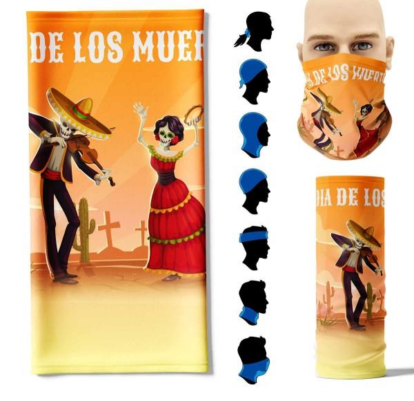 Multifunktionstuch Dia de los Muertos Face Pad+